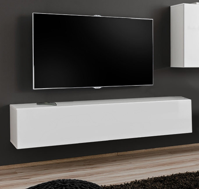 meuble tv mod le berit 120x30 couleur blanc. Black Bedroom Furniture Sets. Home Design Ideas