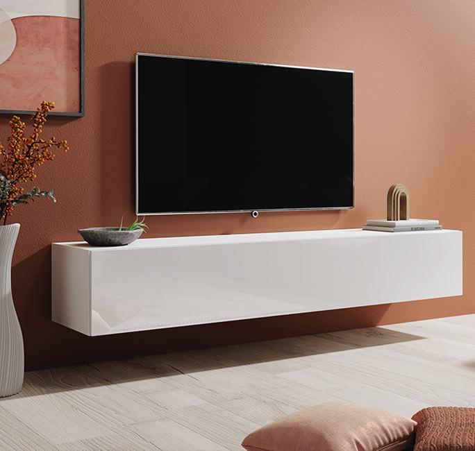 Meuble tv mod le berit 180x30 couleur blanc for Meuble rabais