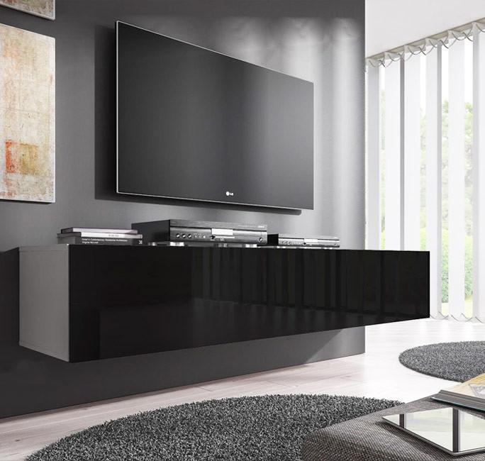 Meuble Tv Modele Forli Xl 160 Cm Blanc Et Noir