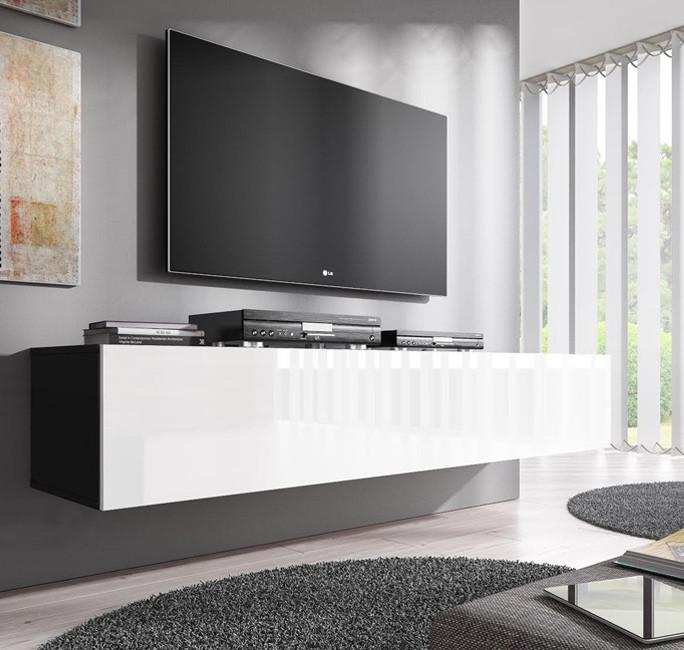 meuble tv mod le forli xl noir avec blanc. Black Bedroom Furniture Sets. Home Design Ideas