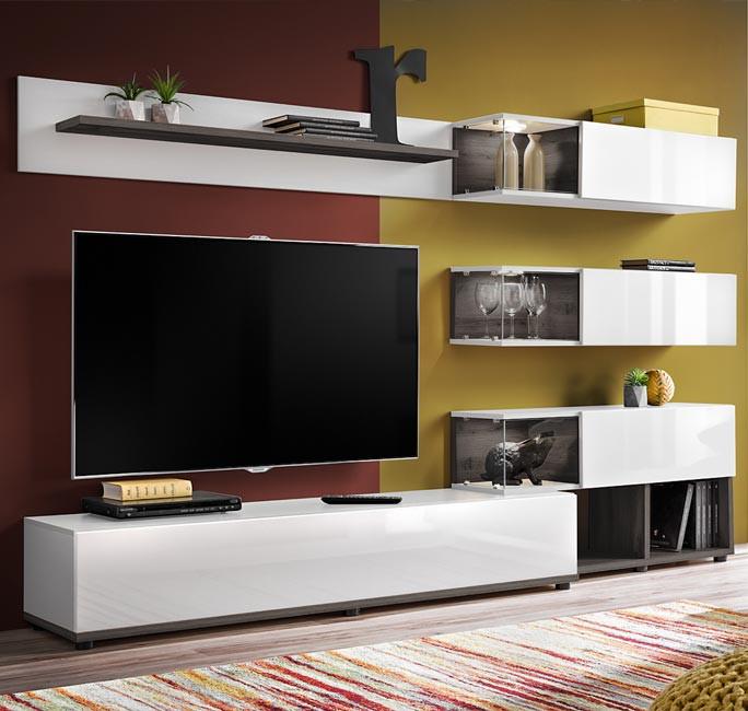 meuble mural tv modele odin couleur gris sidney et blanc 2 4m