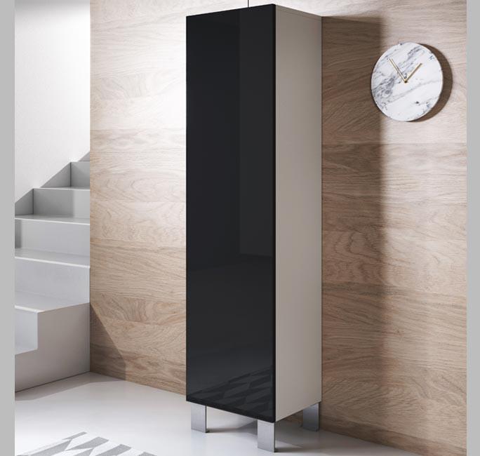 armoire-mural-luke-v4-40x165cc-pieds-aluminium-blanc-noir