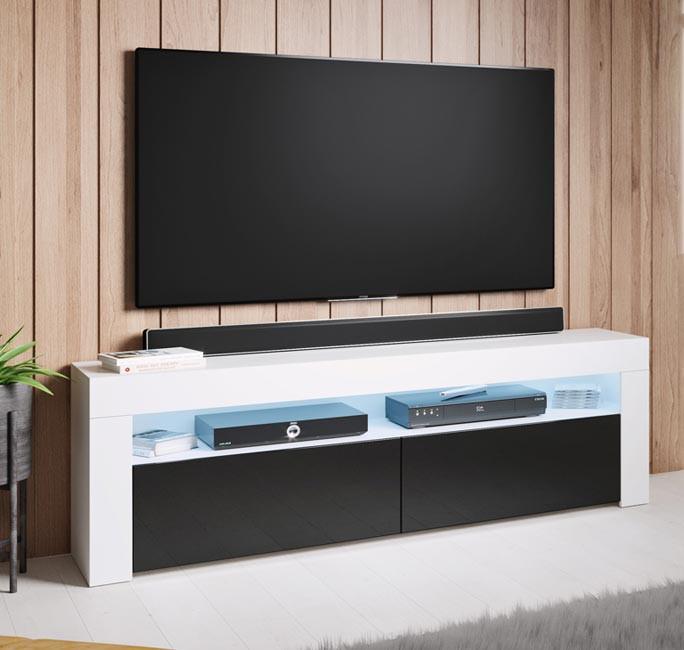 meuble-tv-aker-140-blanc-noir