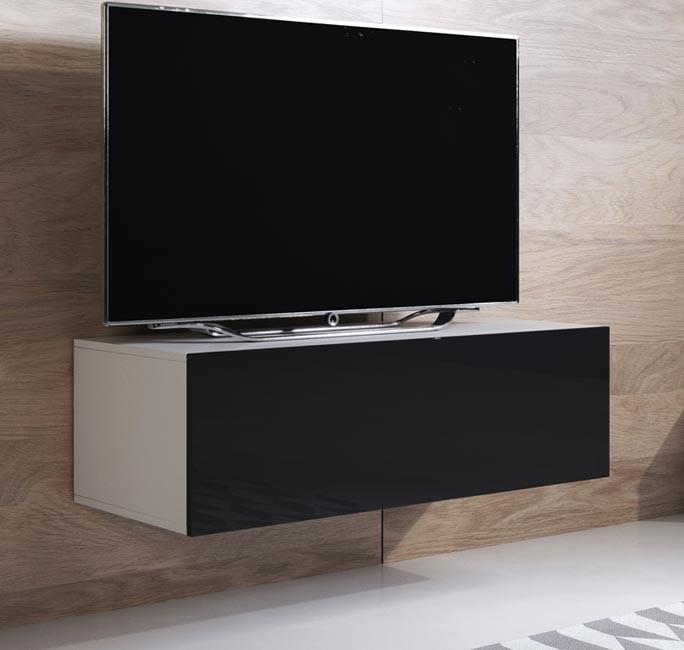 meuble-tv-luke-h1-100x30-blanc-noir