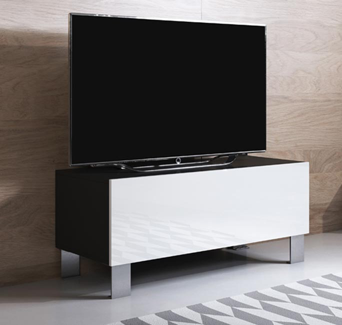meuble-tv-luke-h1-100x30-pieds-aluminium-noir-blanc.