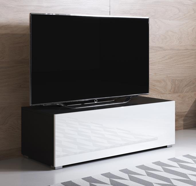 meuble-tv-luke-h1-100x30-pieds-noir-blanc