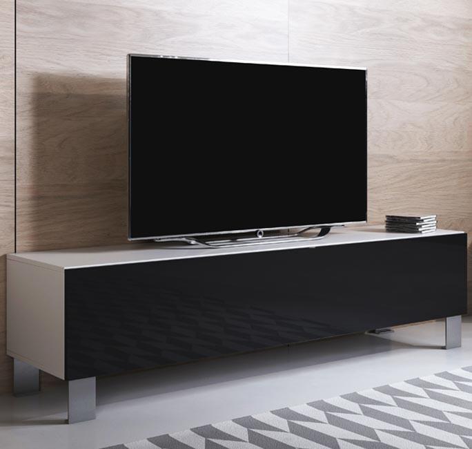 meuble-tv-luke-h2-160x30-pieds-aluminium-blanc-noir