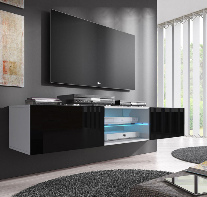 meuble tv tibi blanc noir