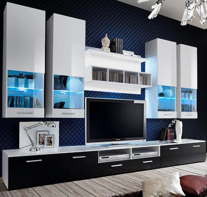 Meuble salon teresa2 blanc noir