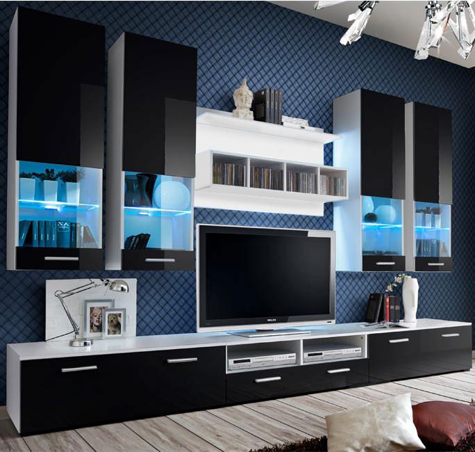meuble salon arlesa blanc noir