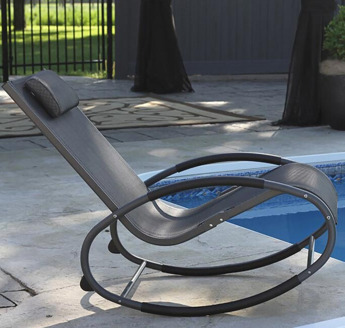 Tumbona wave Rocker - Aluminum - Black Chrome
