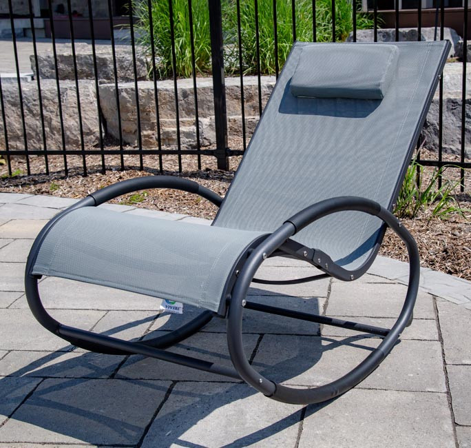 Tumbona wave Rocker - Aluminum - Grey on Matte Black