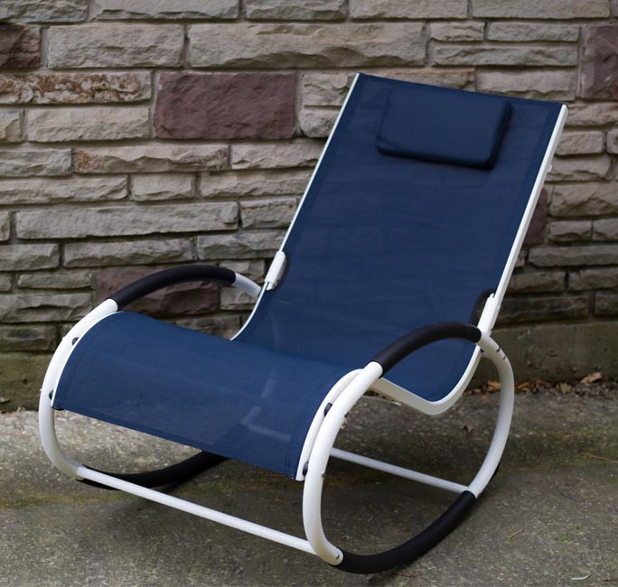 Tumbona wave Rocker - Aluminum - Navy on Matte White