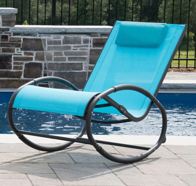 Tumbona wave Rocker - Aluminum - Ocean Blue on Matte Grey
