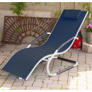 Tumbona wave Lounger - Aluminum - Navy on Matte White