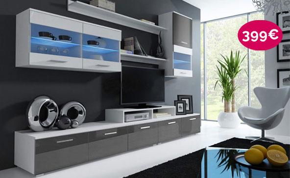 Meuble mural TV Claudia blanc et gris